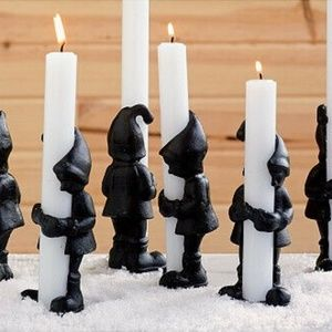 Christmas Cast Iron Elf Gnome Taper Candle Holders